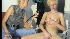 Blonde waste no time jerking herself off  (CLIP)