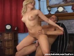 Gorgeous blonde knows how to work a cock