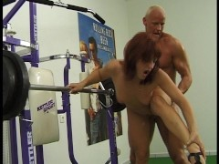 Picture Pumping his iron hard cock clip
