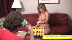 Guy makes his wife play a strip game