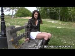 19yo Fabienne upskirt in a public park