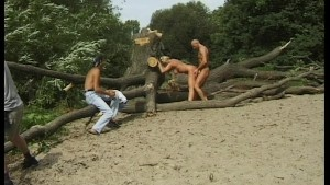 couple of healthy specimens go at it on not-so-secluded beach