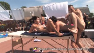 Two Tiny Girls get Nailed by the Pool