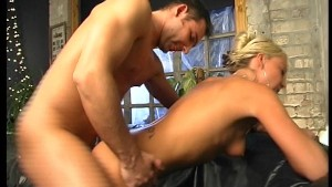 Lady of the house screws two dudes on a leather couch