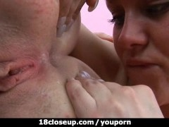 Lesbian Tongue Tensed Up into Roommate's anus!