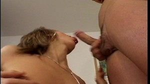 Working his cock down her throat