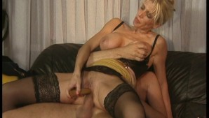 Blonde gets dick and dildo session