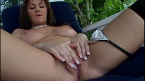 Hot brunette with big bonkers and a pierced pussy