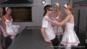 Six Horny Tranny Nurses Gang Bang Patient