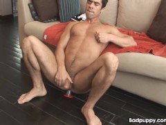 Picture Latin stud cums with dildo