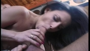 Sexy brunette housewife gets shagged at her work place(clip)
