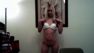 Petite blonde girlfriend rubs her tits