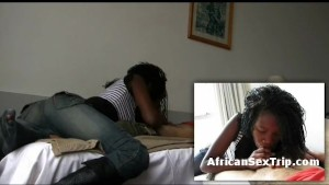 Ebony african babe blows and fucks cock