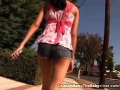 Skinny Babysitter Threesome With Couple