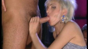 German blonde hottie fucking and sucking two cocks