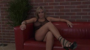 Angie fucked on red couch in high heels