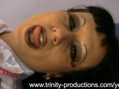 Busty MILF nurse femdom strapon handjob