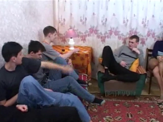 Russian mature has fun with the boys in orgy