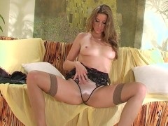 Seductive sweetheart stripping and playing