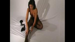 Nadja sexy strip in nylon pantyhose