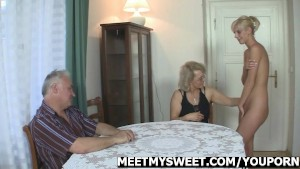 Hot threesome with his GF and parents