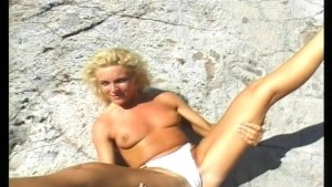 Hot blonde MILF on her back in the sun