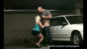 hot blonde slammed in garage