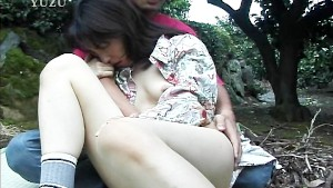 Sweet pale Asian banged outside