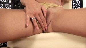 Sweet young Katy makes herself cum