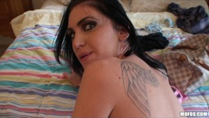 Hot big-tit brunette demands cock by man caught pe