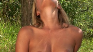 Solo time in the grass with blonde vixen Paola