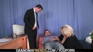 Blonde grandma gets slammed by two cocks