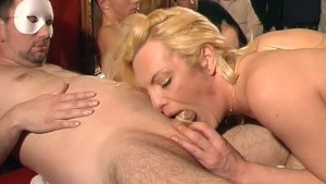 German gangbang with a blonde transwoman