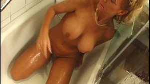 Mature blonde gets out of the shower to suck a young cock - DBM Video