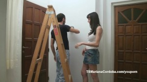 Mariana Cordoba painting and sucking cock