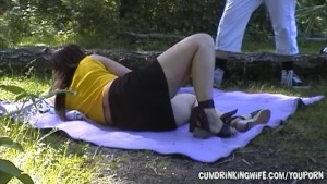 Dogging slutwife gangbanged at the lake