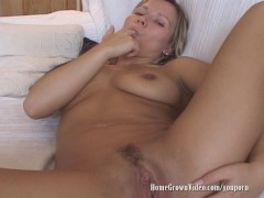 Horny Evie Gives Herself Two Noisy Orgasms