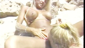 Busty lessies beach side fun - Gentlemens Video