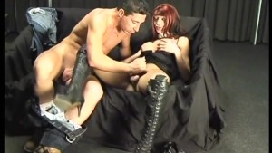 Shemale with big boots and a big cock gets fucked - Pandemonium
