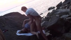 Horny couple public sex in the water