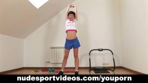 Stripping working out brunette