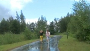 Two girlfriends went walk to the nature