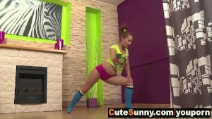 Teen gymnast stretching and working out naked