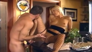 Pretty blonde sex in ripped fencenet stockings