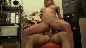 Big-Tit blonde slut girlfriend sucks and fucks bf's dick in store
