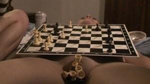 chess match on naked body