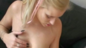 Busty blonde titties glazed with hot cum