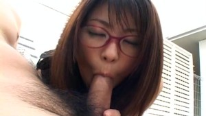 Japanese Mimi Kousaka gives a perfect blowjob uncensored