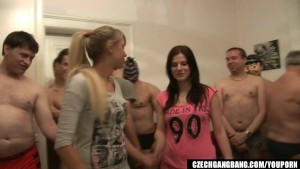 GIRLFRIEND AND HER Friend GET FUCKED AT CZECH GANG BANG