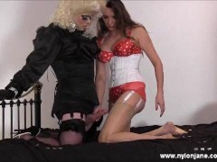 Nylon Jane Gets Pearl Necklace Facial From A Horny Crossdresser